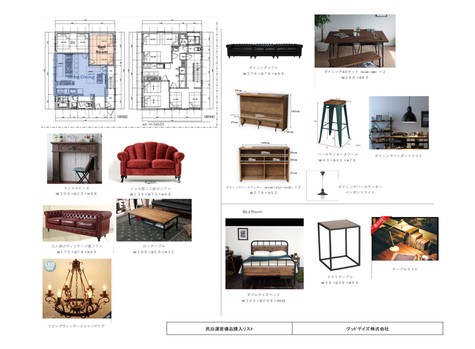 写真:家具リスト